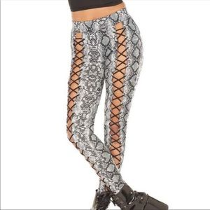 NWOT In Your Wildest Dreams Lace Up Leggings